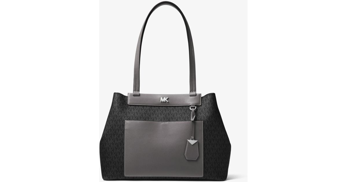 2a431768070503 Michael Kors Meredith Medium Logo And Leather Tote in Black - Lyst