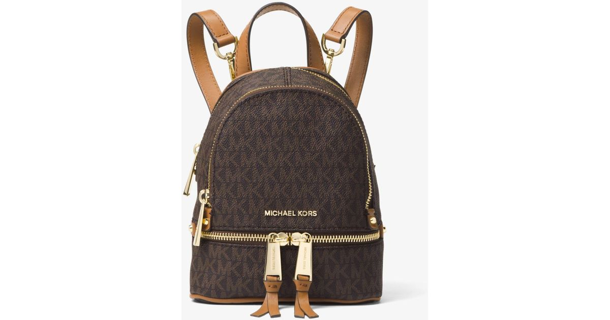 b846930ffa5d46 Michael Kors Rhea Mini Logo Backpack in Brown - Lyst