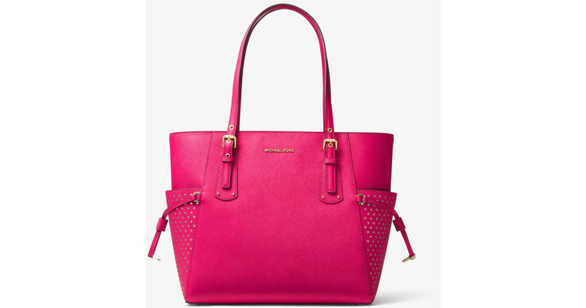 3cabe8a6b06e Lyst - Michael Kors Voyager Small Saffiano Leather Tote in Pink