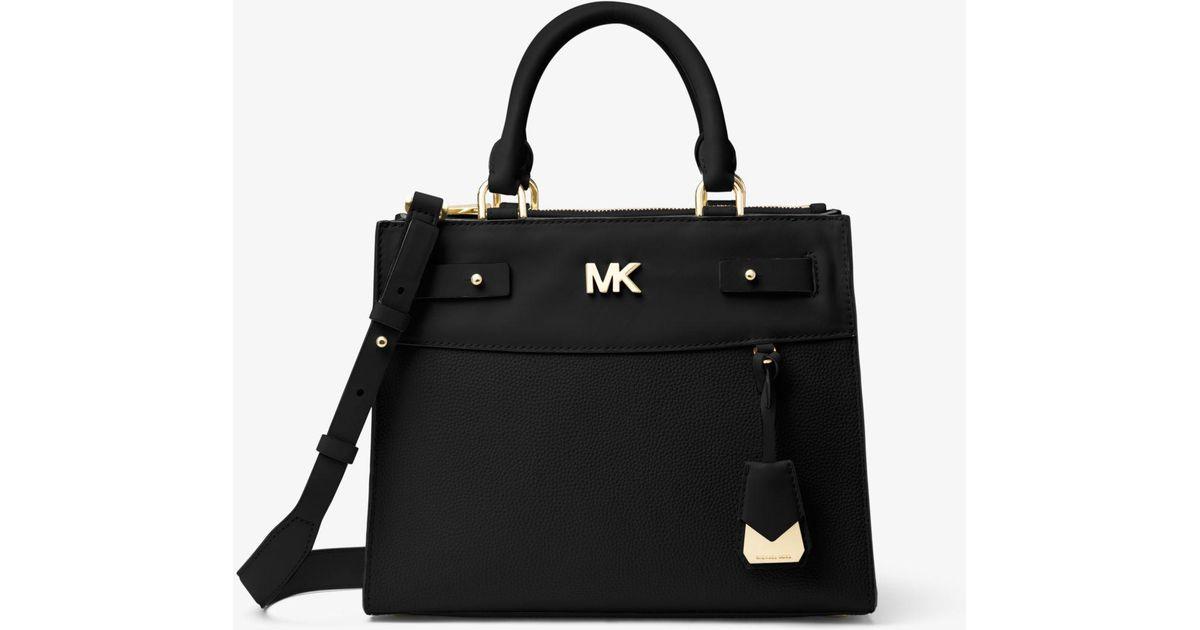 8b6f9ebcd753 promo code for lyst michael kors reagan medium leather satchel in black  758dc a8279