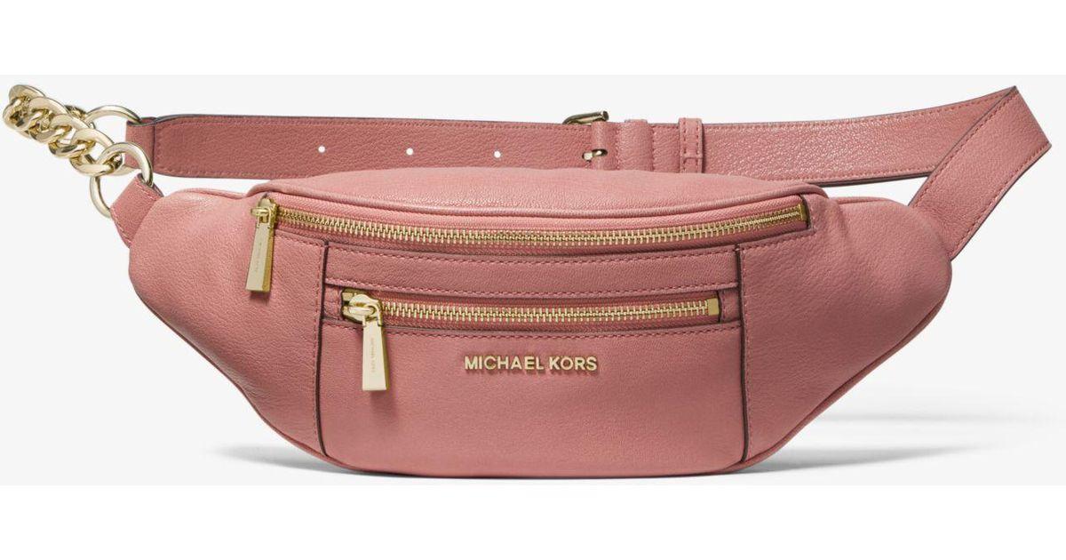 9ce4a6711ccc ... good lyst michael kors medium leather belt bag in pink 7266c 3e7fe
