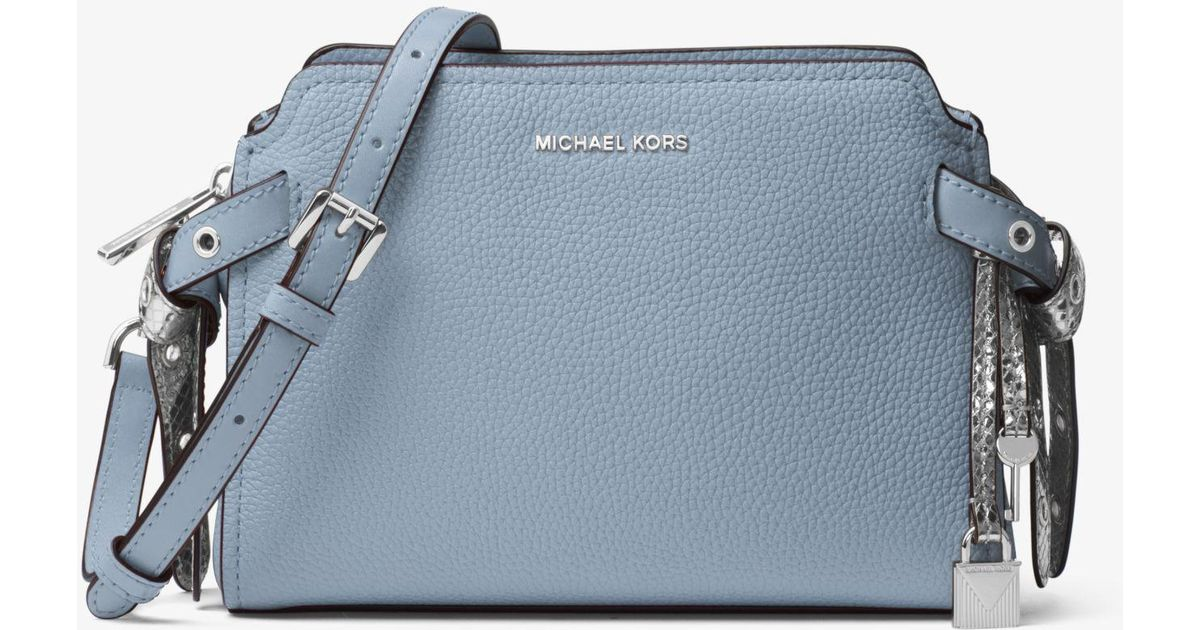 19ff4801f9c28 Lyst - Michael Kors Bristol Leather Crossbody in Blue