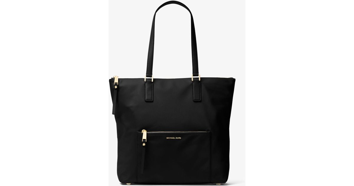 8ba51ee4d0c3 Michael Kors Ariana Large Nylon And Leather Tote in Black - Lyst