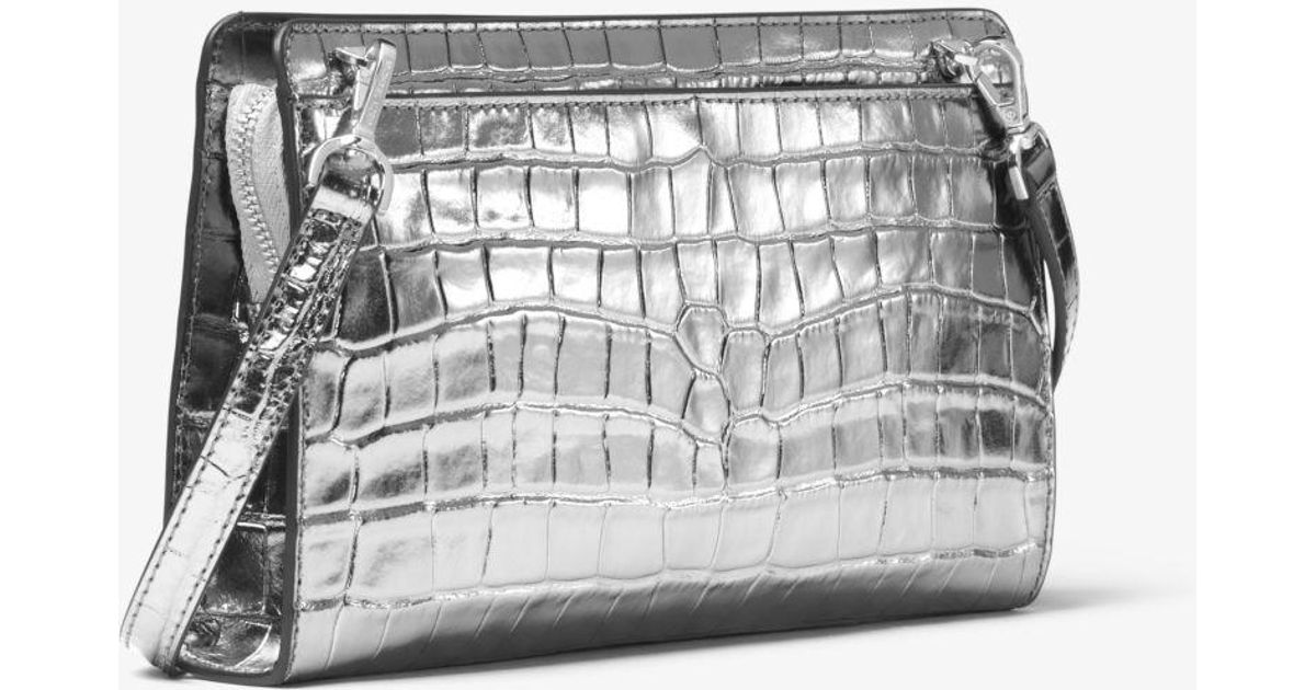 b7da2ee9d6cb Michael Kors Jet Set Metallic Crocodile-embossed Leather Convertible  Crossbody Bag in Metallic - Lyst