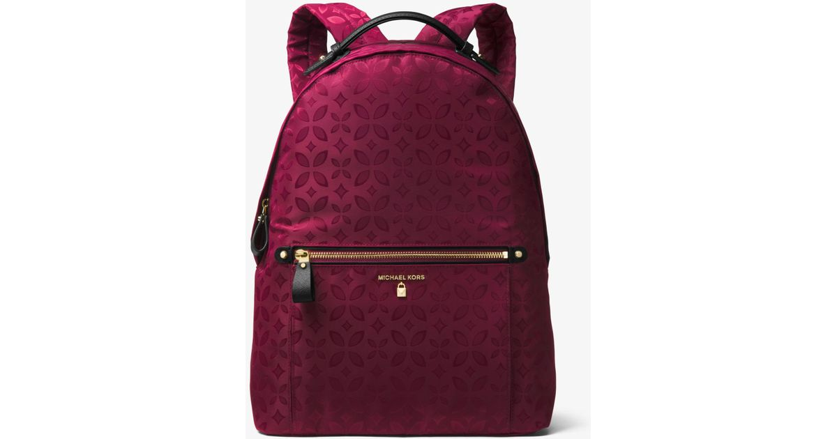 Lyst - Michael Kors Kelsey Large Floral Nylon Backpack in Purple 947cbc8773e76