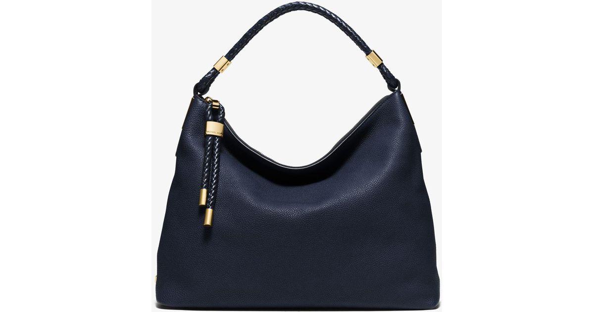 0d72b51ed39c Lyst - Michael Kors Skorpios Large Pebbled Leather Shoulder Bag in Black