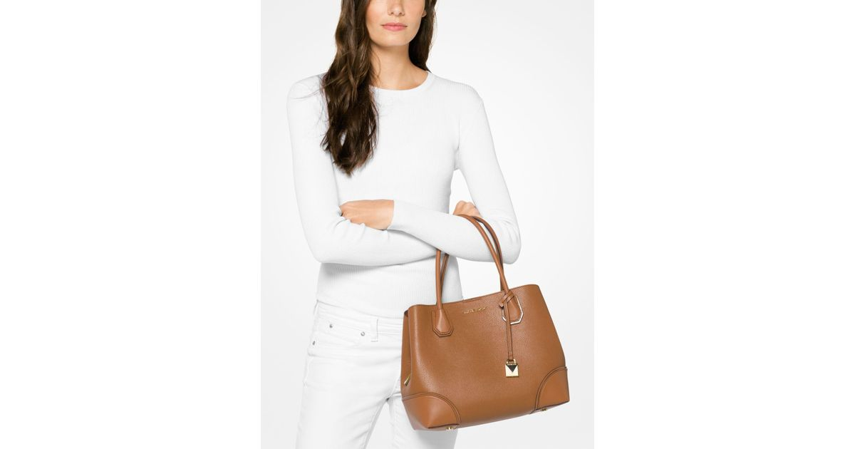 8127c791fc3a Lyst - Michael Kors Mercer Gallery Medium Leather Satchel in Brown