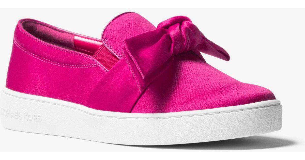 f8dbd64ebe4c Lyst - Michael Kors Willa Satin Slip-on Sneaker in Pink