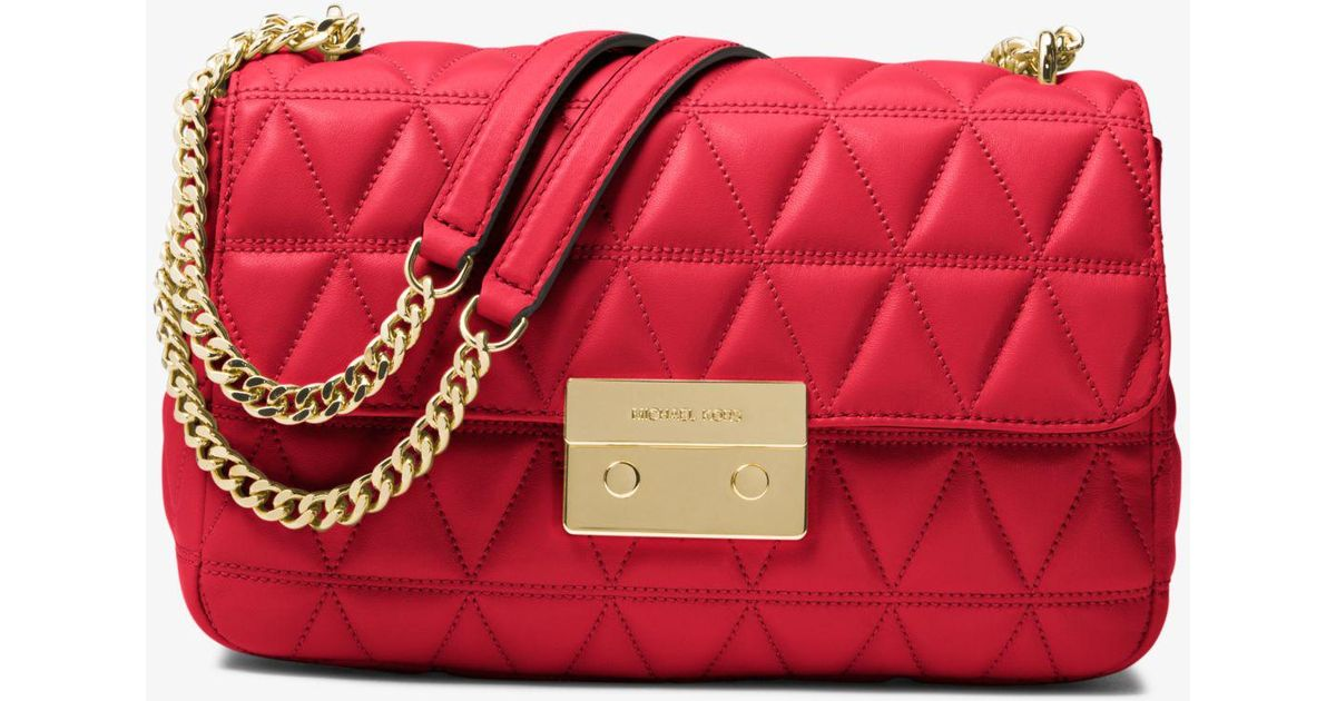 f3545bcadf31c Lyst - Michael Kors Sloan Large Quilted-leather Shoulder Bag in Red