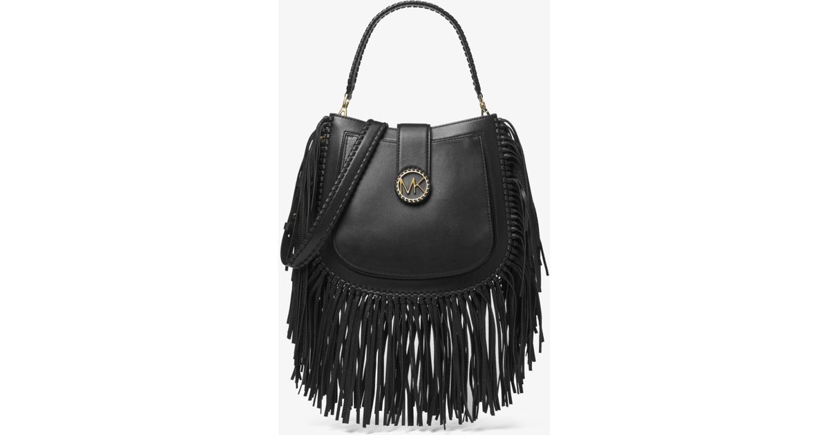 46ce1f8dcc43 Lyst - Michael Kors Lillie Medium Fringed Leather Shoulder Bag in Black