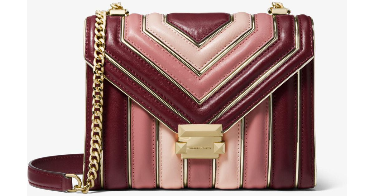 de620ae963a59 Lyst - Michael Kors Whitney Large Quilted Tri-color Leather Convertible  Shoulder Bag