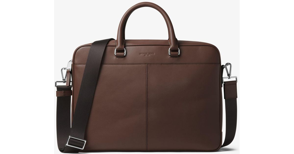 d6fae4b0f716 Michael Kors Odin Large Leather Briefcase in Brown for Men - Lyst