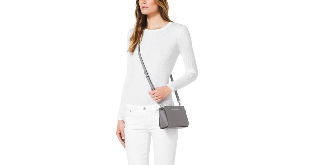 Michael Kors Selma Saffiano Leather Mini Messenger in Gray - Lyst 07880d12d2f63