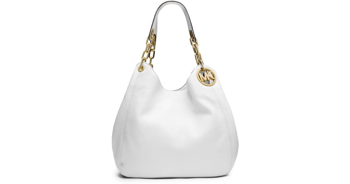 0a3f142d0469 Lyst - Michael Kors Fulton Large Leather Shoulder Bag in White