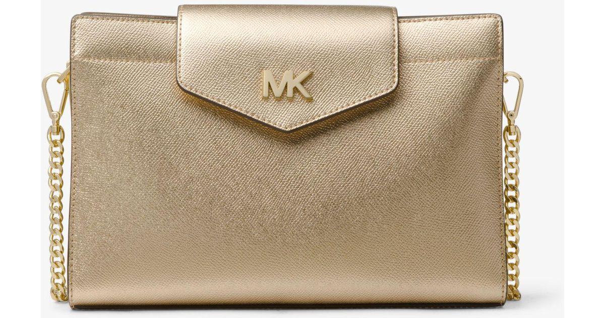 269a199d8392 Michael Kors Large Metallic Crossgrain Leather Crossbody Clutch in Metallic  - Lyst