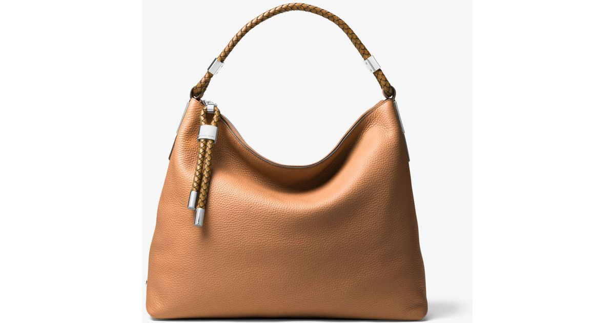 ca741a8d4739 Lyst - Michael Kors Skorpios Large Pebbled Leather Shoulder Bag