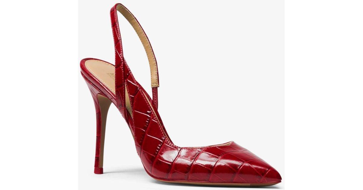 Michael Kors Women's Eliza Croc-Embossed Leather Slingback Pumps 5MFg4fQ8lD