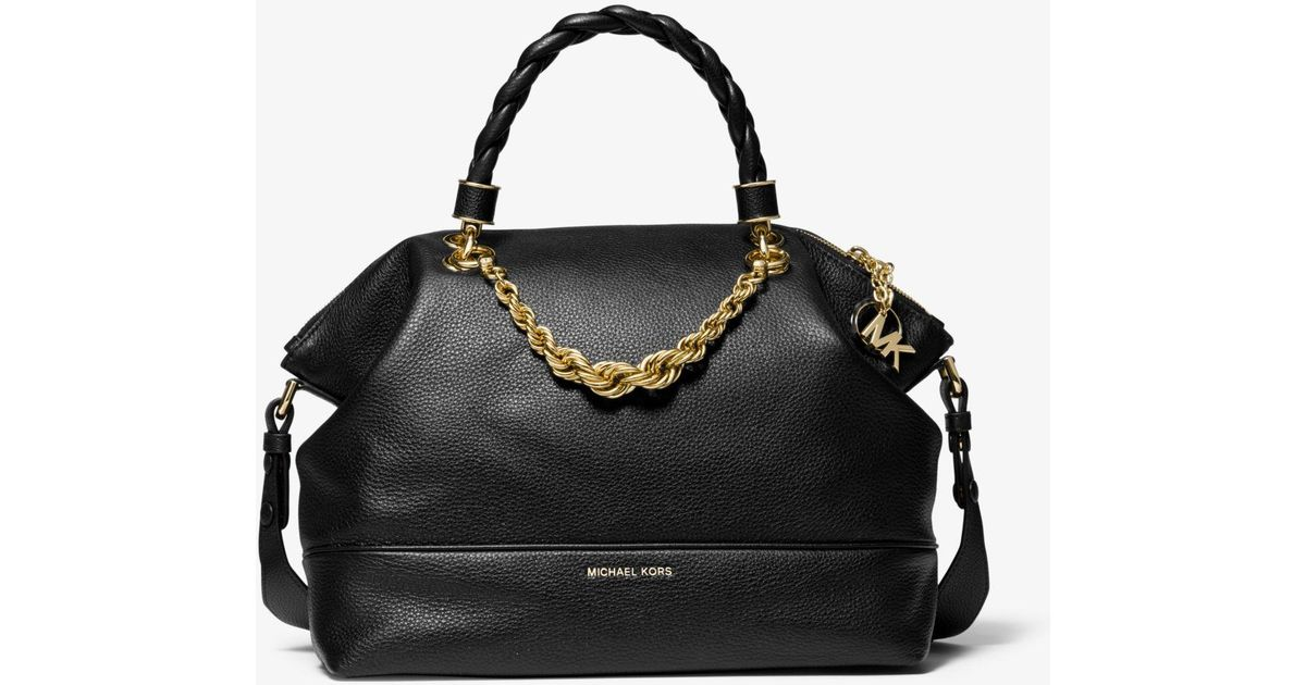 0d37854f6a9e MICHAEL Michael Kors Iggy Small Pebbled Leather Satchel in Black - Lyst