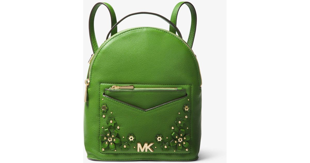 c55376b03 ... best price lyst michael kors jessa small floral embellished pebbled  leather convertible backpack in green 65471