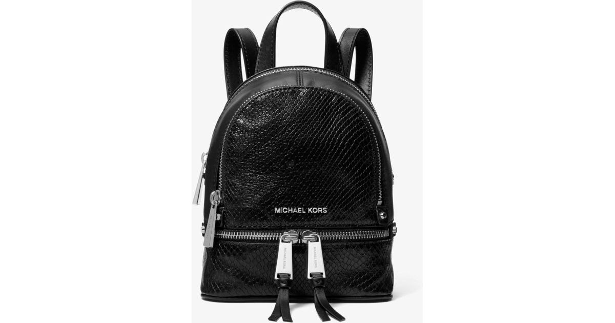 977e66f0476714 Michael Kors Rhea Mini Python-embossed Leather Backpack in Black - Lyst