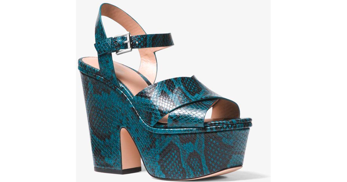 325293d89da Lyst - Michael Kors Divia Snake-embossed Leather Platform Sandal in Blue
