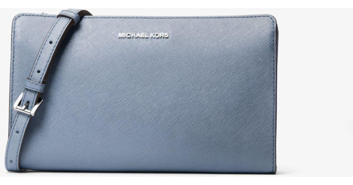 2f139a9e83a12a Michael Kors Jet Set Large Saffiano Leather Convertible Crossbody Bag in  Blue - Lyst