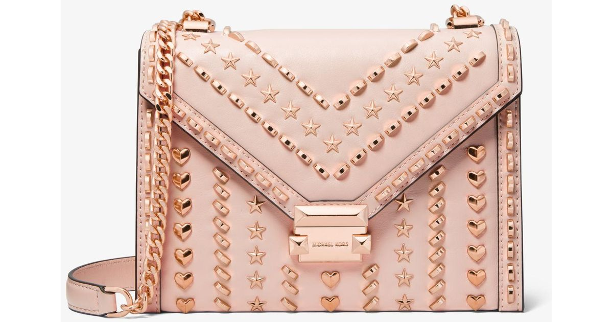 a2f13e8a7cab Michael Kors Whitney Large Studded Leather Shoulder Bag in Pink - Lyst