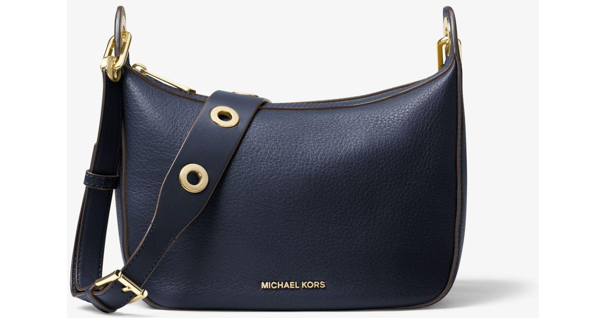 6c297aac426a Michael Kors Raven Medium Leather Messenger Bag in Blue - Lyst