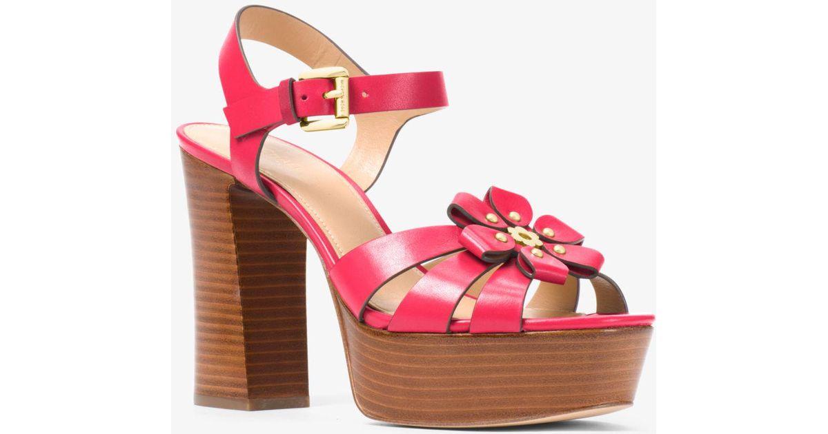 69f0f0b2304 Michael Kors Tara Floral Embellished Leather Platform Sandal in Pink - Lyst