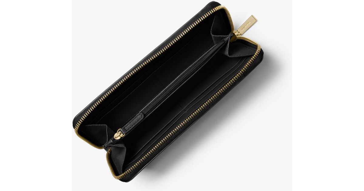 lyst michael kors sutton saffiano leather continental wallet in black rh lyst com