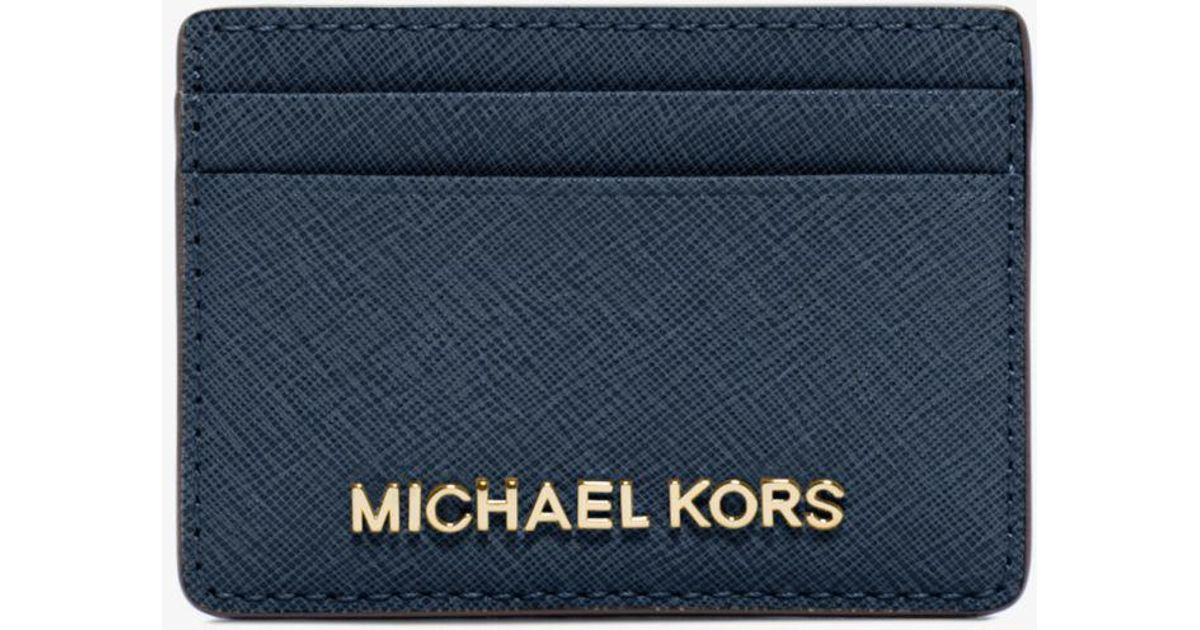 311aab81865b Lyst - Michael Kors Travel Saffiano Leather Card Case in Blue