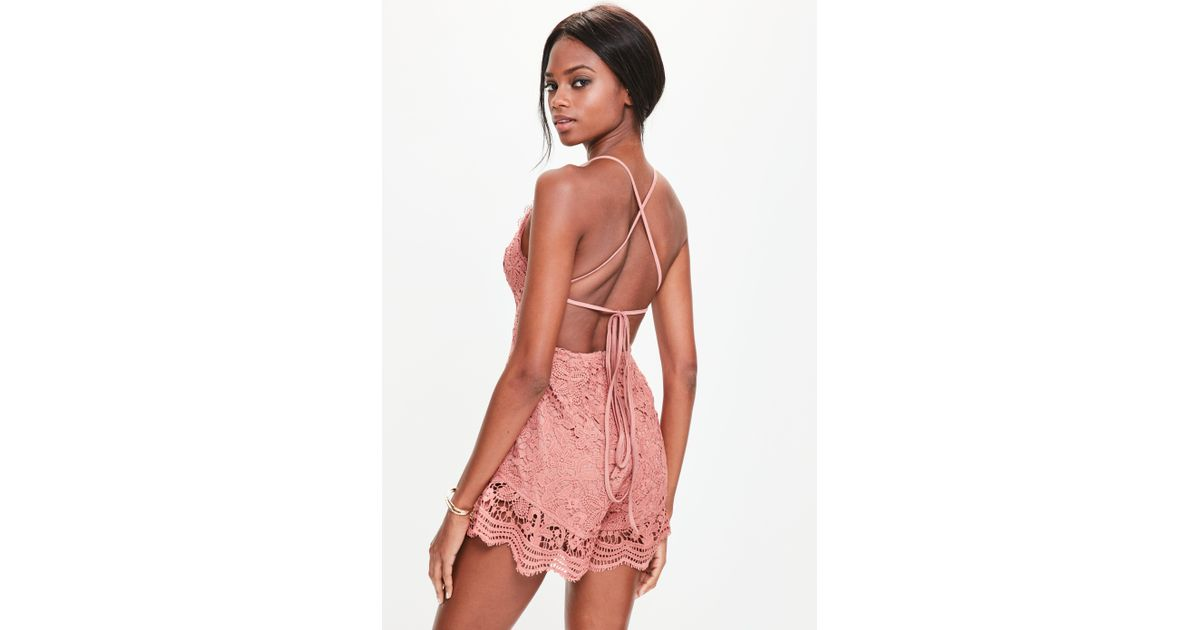 bab5533467 Lyst - Missguided Pink Plunge Lace Frill Playsuit in Pink