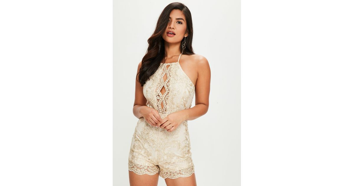 1c970f042a Lyst - Missguided Gold Sequin Satin Halterneck Romper in Metallic
