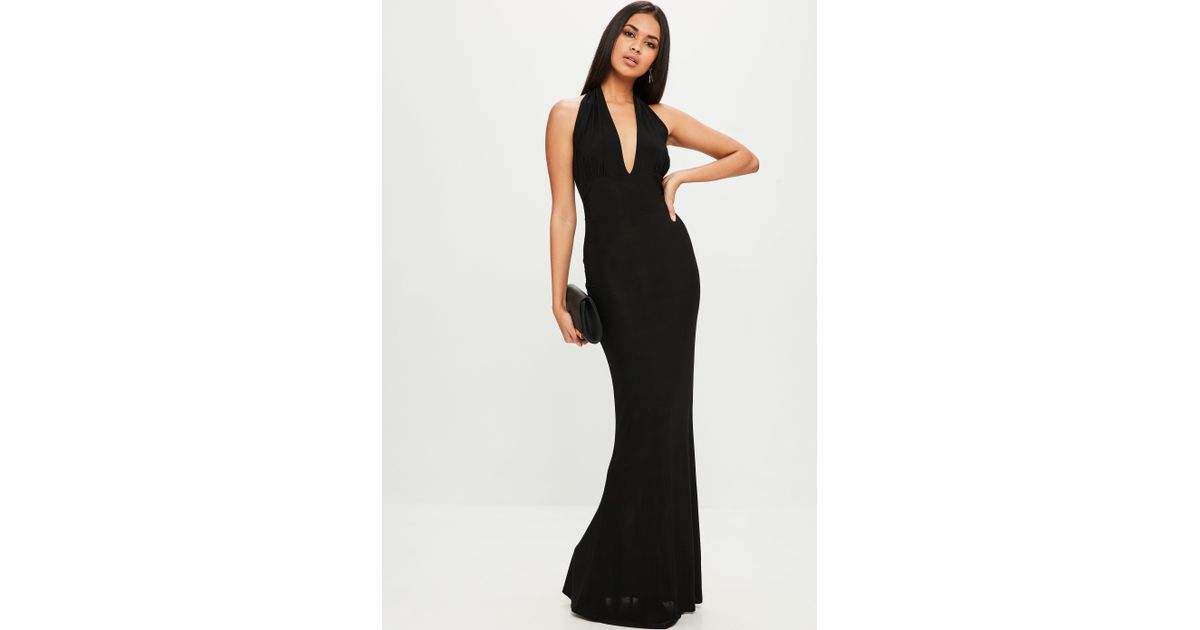 Lyst Missguided Black Plunge Slinky Backless Maxi Dress In Black