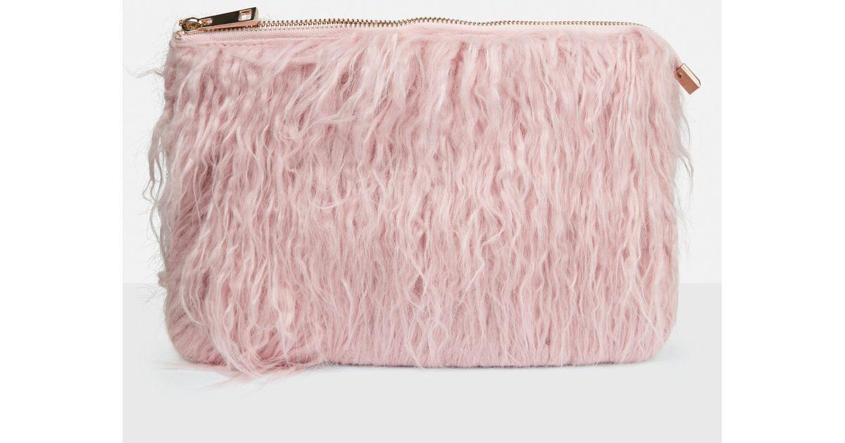 Missguided - Pink Faux Mongolian Fur Clutch Bag - Lyst 682f3b0383161