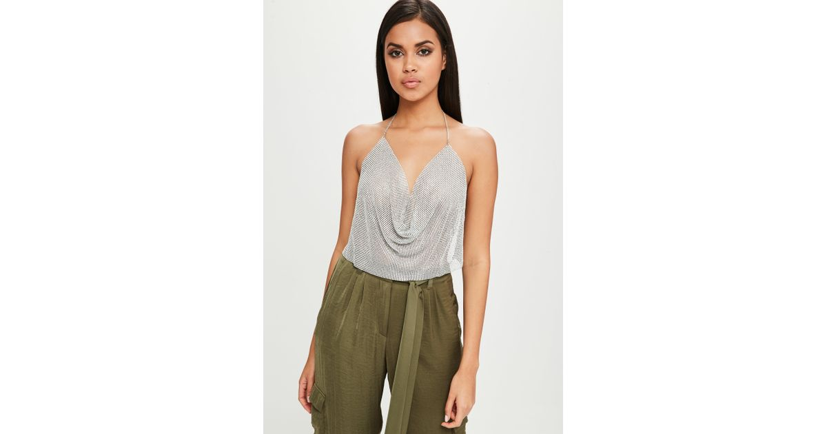 86a2c90412a Lyst - Missguided Carli Bybel X Silver Chain Mail Cowl Bralet in Metallic