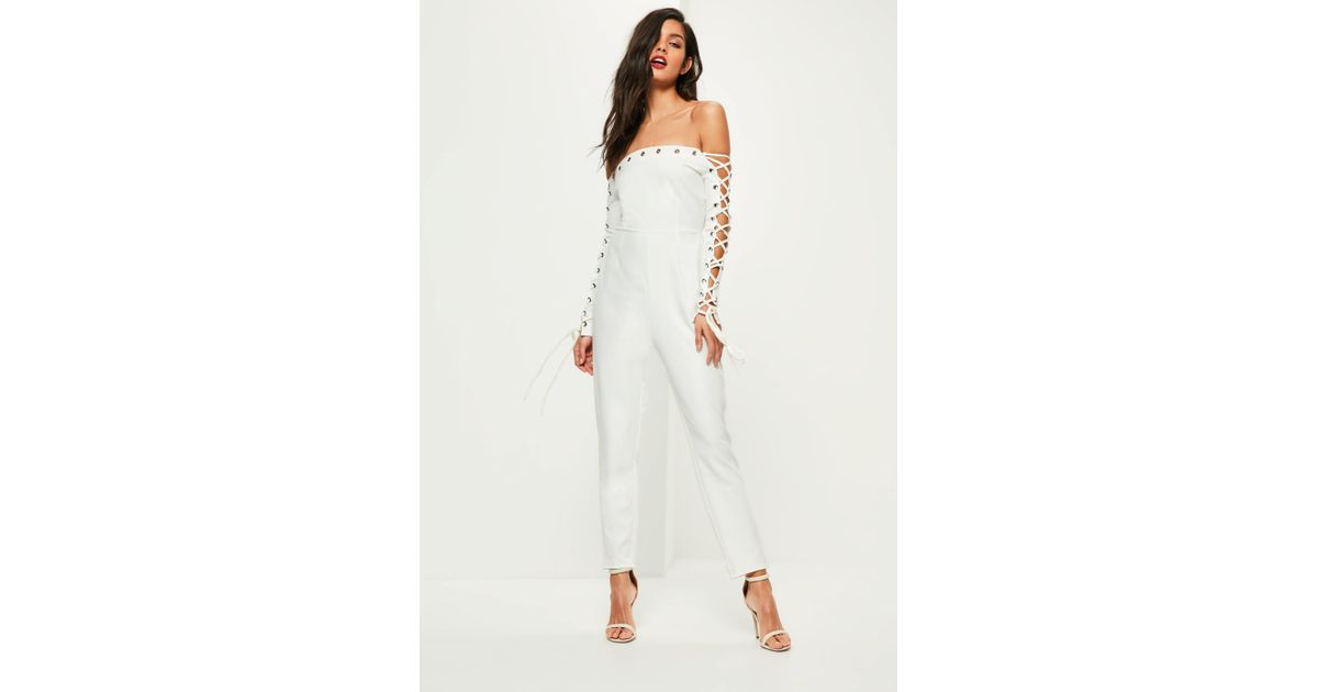 b893f570f5bf Lyst - Missguided White Lace Up Eyelet Sleeve Bardot Jumpsuit in White