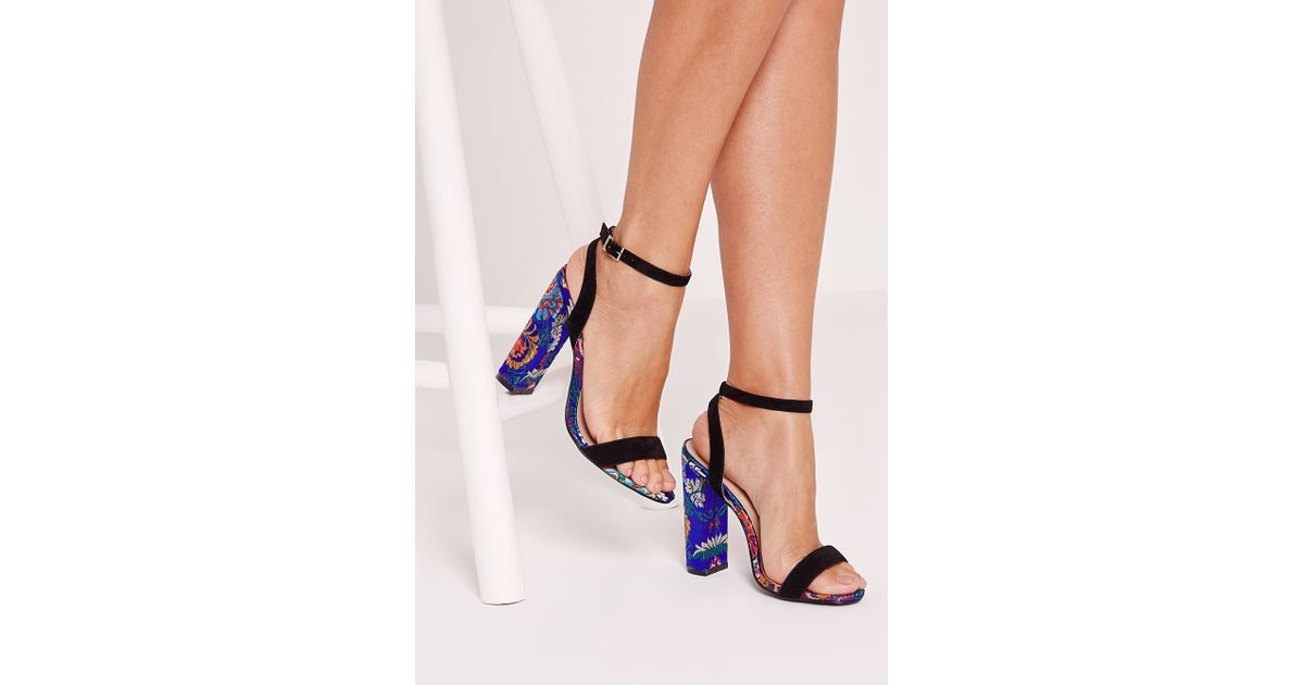 54ba5dc02037 Lyst - Missguided Oriental Print Block Heeled Sandals Multi in Black