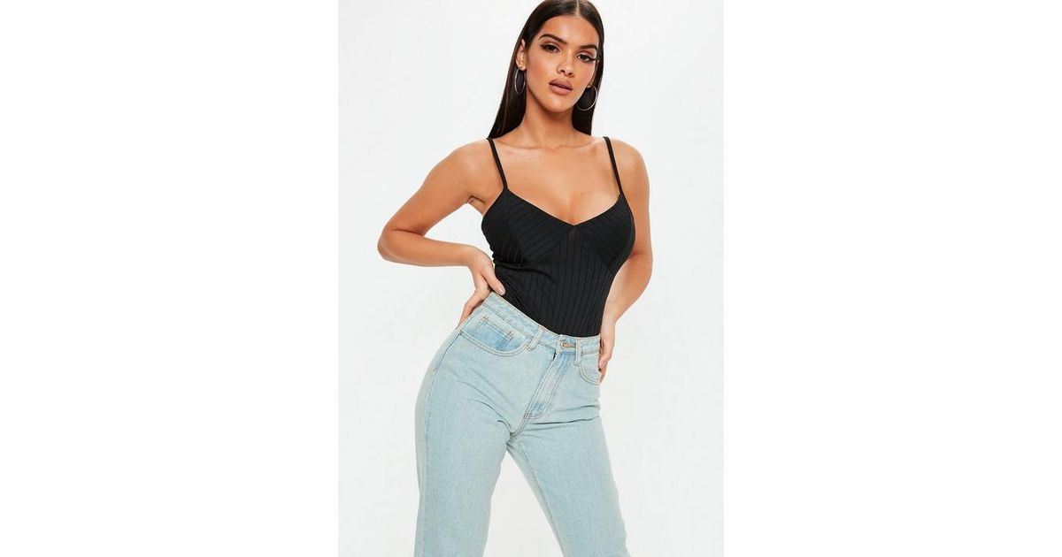 8e72071314 Missguided Petite Black Ribbed Strappy Bodysuit in Black - Lyst