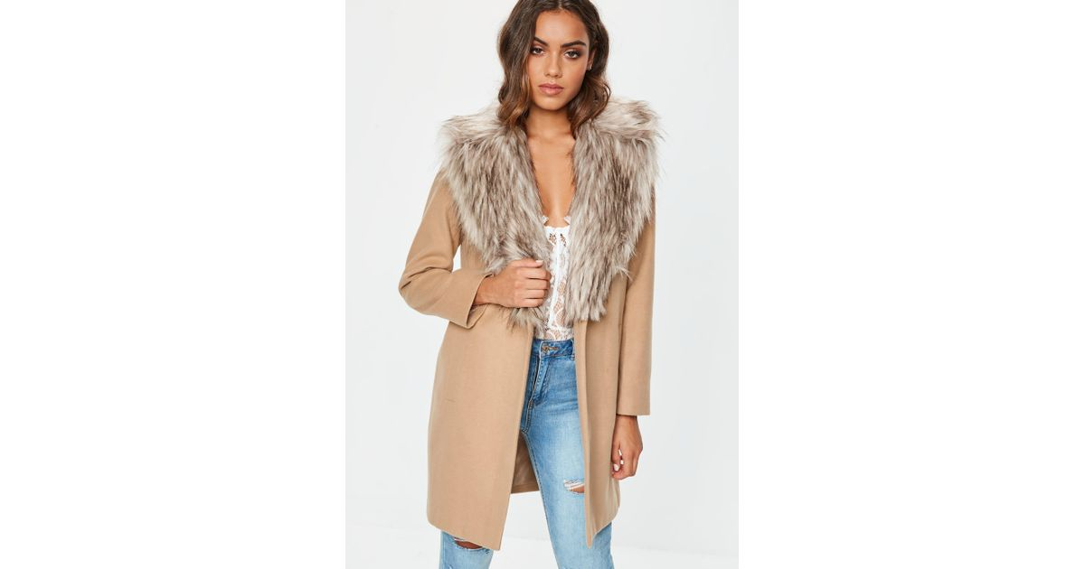 e04bbe50a8a1 Lyst - Missguided Camel Faux Fur Collar Short Formal Coat in Natural