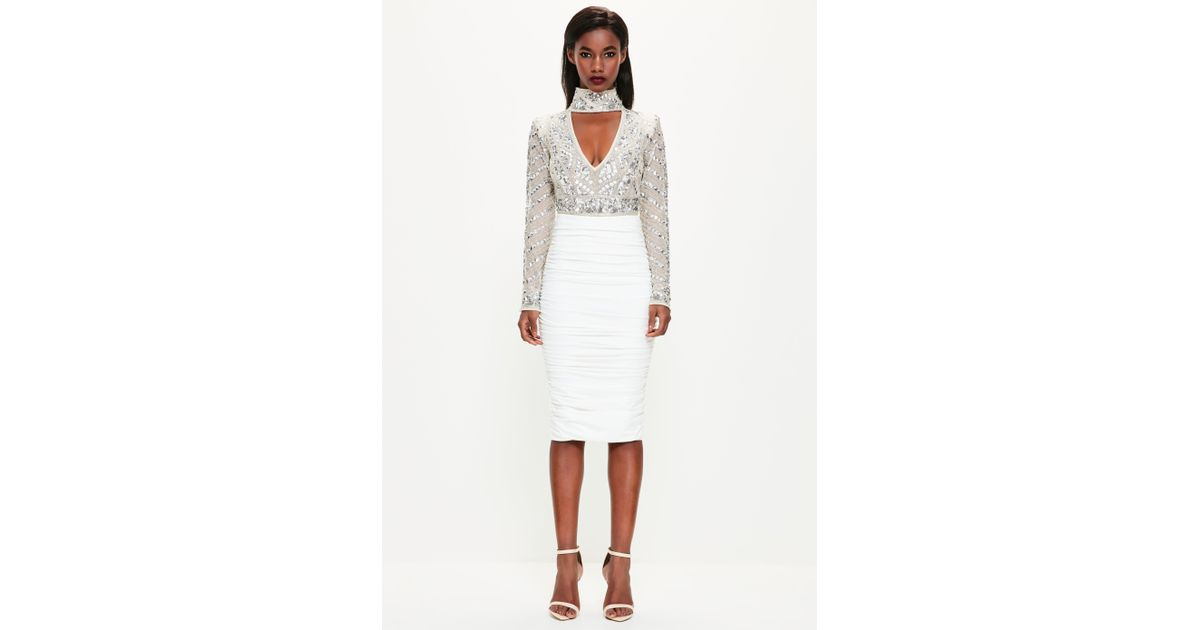 5905a7bc2b Lyst - Missguided Peace + Love White Ruched Midi Skirt in White