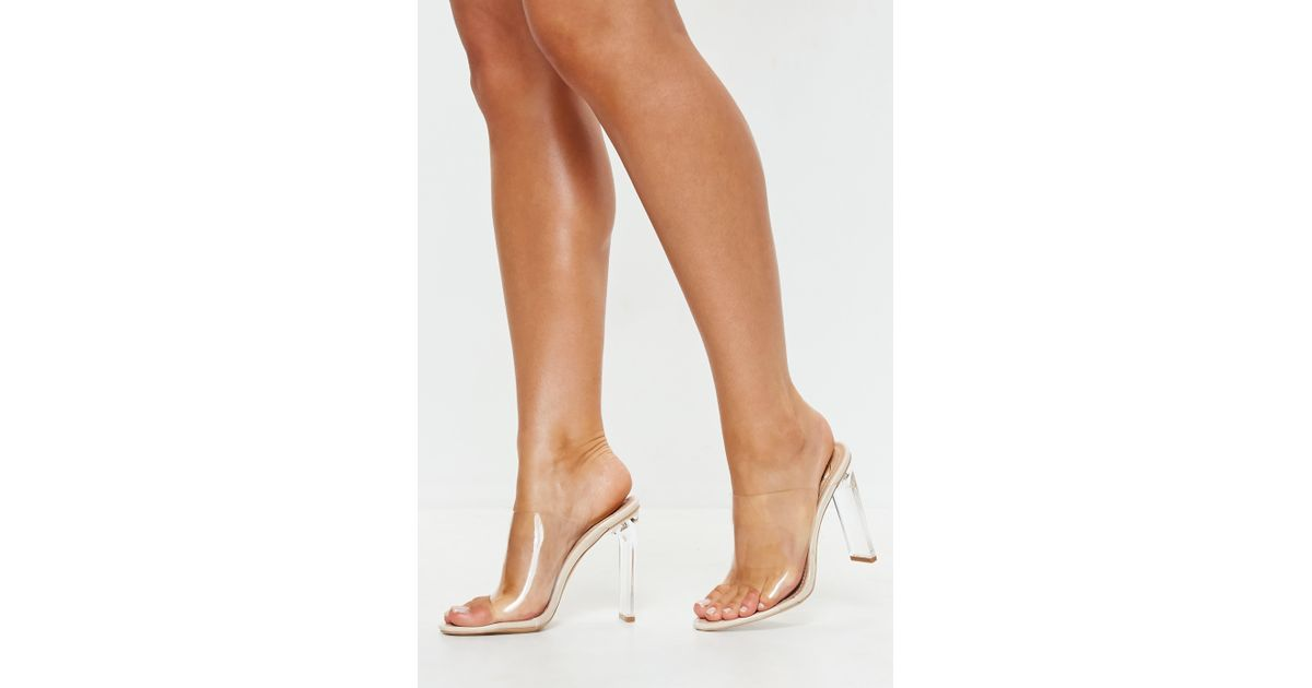d9489b5749 Missguided Nude Illusion Heels Clear Mules in Natural - Lyst