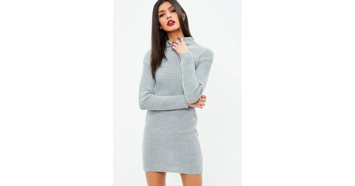 Missguided Grey High Neck Knitted Mini Dress in Gray - Lyst f799aed02