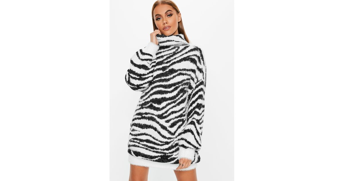 Lyst - Missguided Premium White Fluffy Roll Neck Animal Jumper Dress in  White 11cf5d320