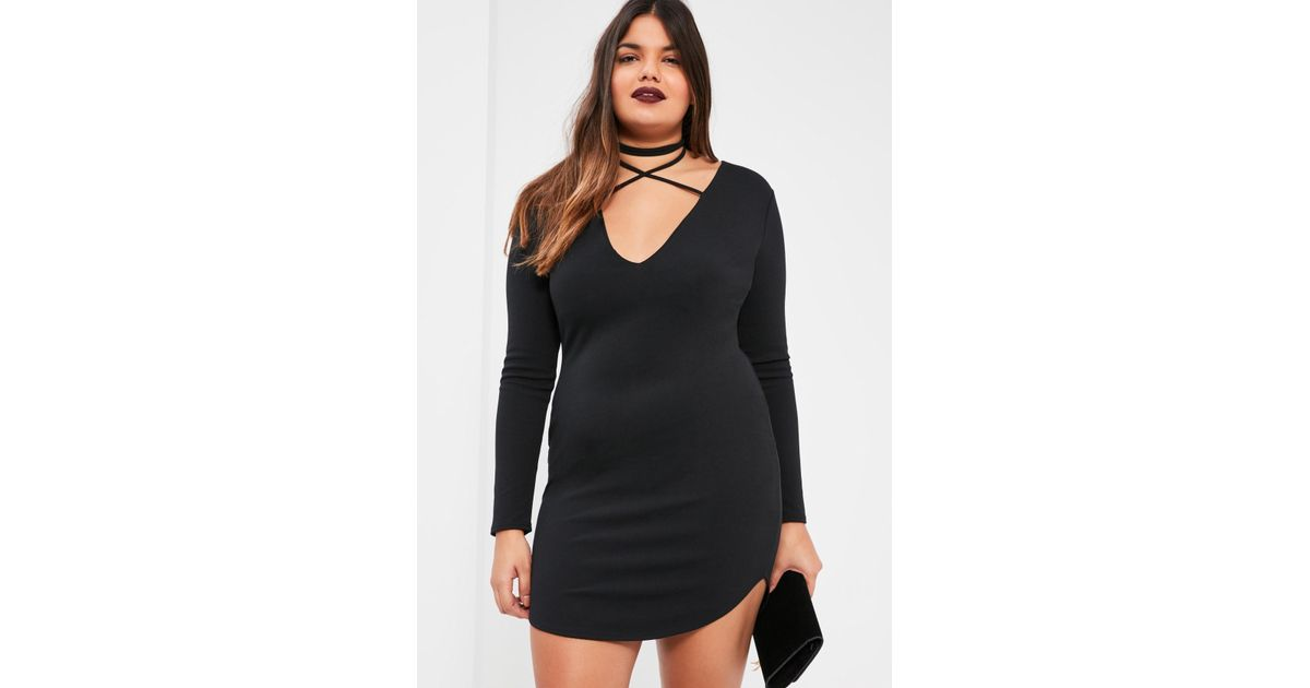 4d331f88707 Lyst - Missguided Plus Size Black Curve Hem Tie Neck Bodycon Dress in Black