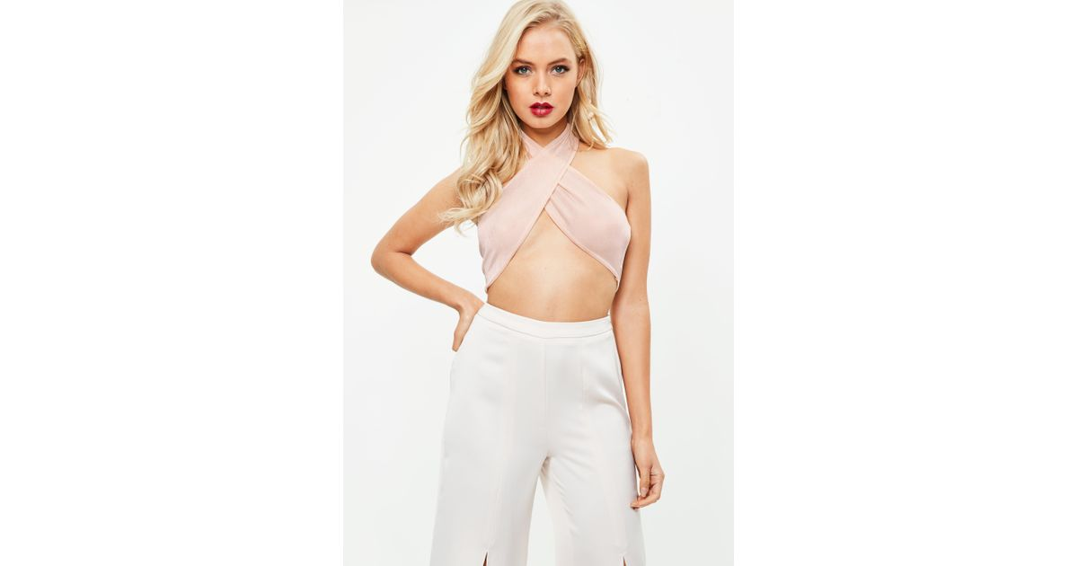 937406eb25e Lyst - Missguided Nude Cross Front Halter Bralette in Natural