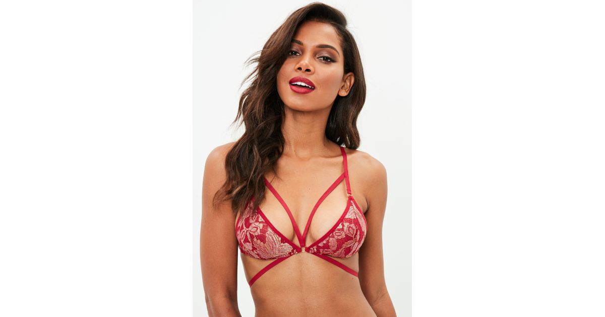 fcf900bad6b7f7 Missguided Red Metallic Lace Harness Bra in Red - Lyst