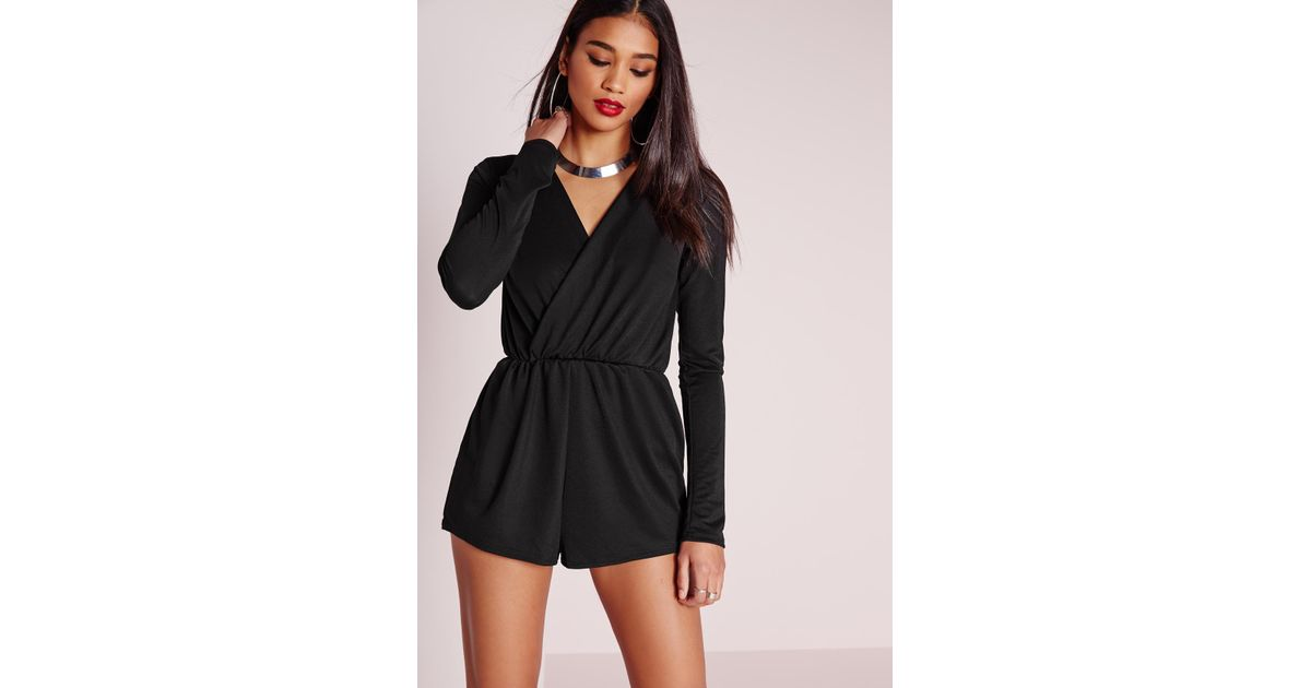 2f0cbbc444 Missguided Wrap Front Crepe Playsuit Black in Black - Lyst