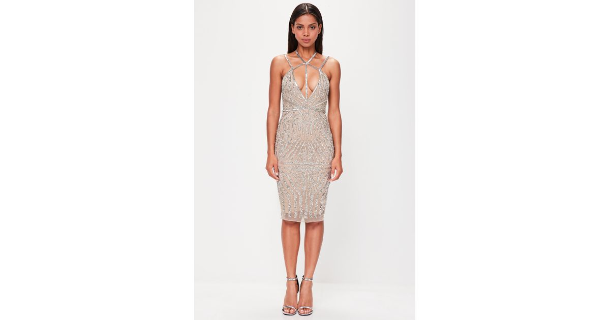 13cce25c43e6 Lyst - Missguided Peace + Love Nude Low Back Embellished Midi Dress in  Natural