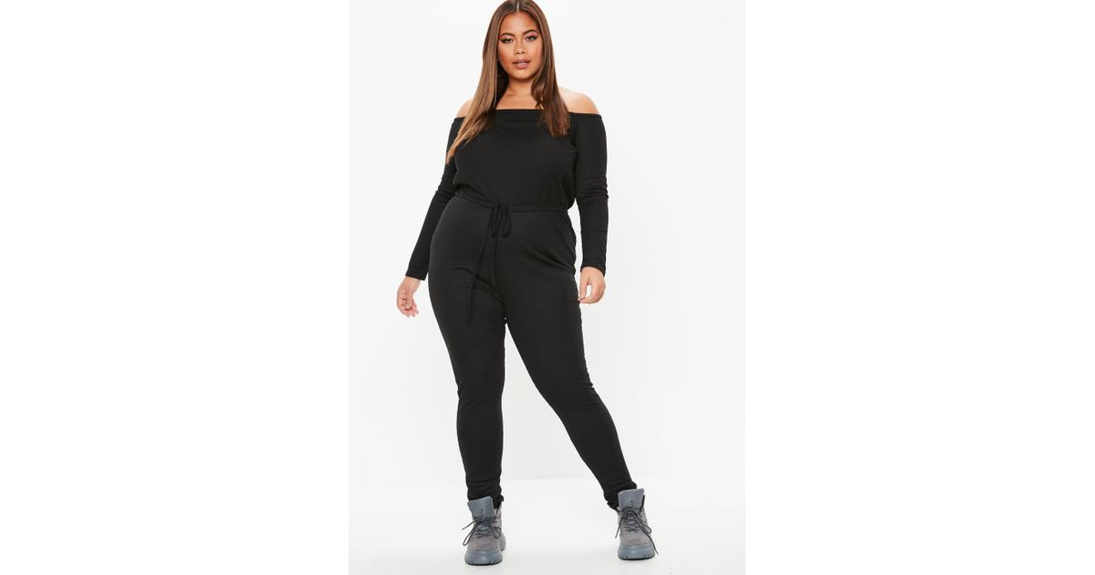 6d89c904490 Lyst - Missguided Plus Size Black Ribbed Bardot Jumpsuit in Black